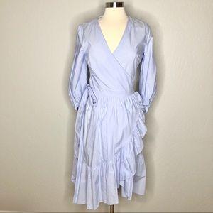 Loft Cotton Stripe Ruffle Wrap Dress 6